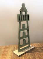 Pastel Green Wooden Lighthouse Nautical Ornament - 13 cm Mini